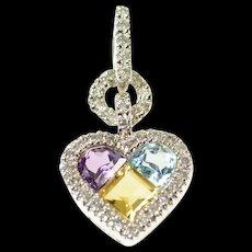 14K Diamond Citrine Blue Topaz Amethyst Heart Pendant White Gold [CXQC]