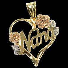 14K Tri Tone Nana Grandma Heart Roses Flower Pendant Yellow Gold [CXQC]