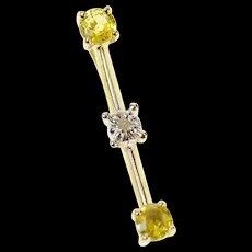 14K Tiered Citrine Diamond Inset Bar Statement Pendant Yellow Gold [CXQC]