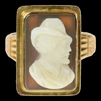 10K Victorian Ornate Carved Shell Cameo Statement Ring Size 6.75 Yellow Gold [CQXK]