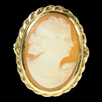 14K Retro Ornate Carved Shell Cameo Statement Ring Size 3.5 Yellow Gold [CQXK]