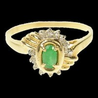 14K Ornate Classic Emerald Accent Bypass Ring Size 6.75 Yellow Gold [CQXF]