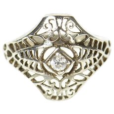 Sterling Silver Ornate Art Deco Filigree Travel Engagement Ring Size 5  [CXQC]
