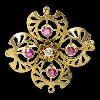 10K Victorian Syn. Ruby Diamond Clover Filigree Pin/Brooch Yellow Gold [CQXK]