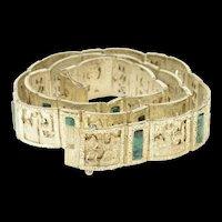 Sterling Silver Peruvian Ornate Tribal Motif Amazonite Belt   [CXQC]