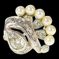 14K 0.75 Ctw Ornate 1940's Diamond Pearl Swirl Pin/Brooch White Gold [CQXK]