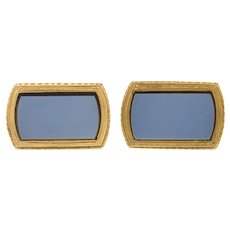 10K Art Deco Ornate Blue Black Onyx Inset Cuff Links Yellow Gold [CXQC]