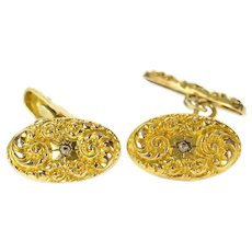 Gold Filled Art Nouveau Repousse Swirl Rhinestone Oval Cuff Links  [CXQC]