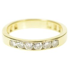 14K 0.48 Ctw Classic Diamond Wedding Band Ring Size 7.25 Yellow Gold [CXQC]