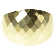 10K Squared Pattern Graduated Domed Statement Ring Size 9 Yellow Gold [CXQC]