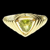 10K Trillion Peridot Grooved Design Statement Ring Size 6.25 Yellow Gold [CQXK]