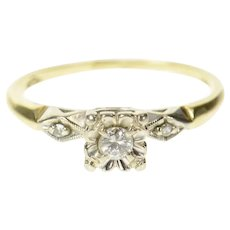 14K 1940's Three Stone Diamond Classic Promise Ring Size 6.25 Yellow Gold [CXQC]