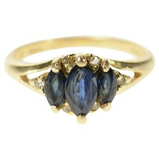 14K Marquise Sapphire Three Stone Diamond Accent Ring Size 3.75 Yellow Gold [CXQC]
