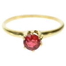 14K Victorian Classic Sim. Ruby Solitaire Ring Size 5 Yellow Gold [CXQC]
