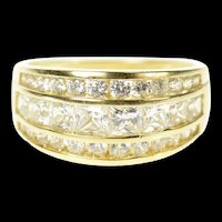 14K Graduated Cubic Zirconia Tiered Statement Ring Size 8 Yellow Gold [CQXK]