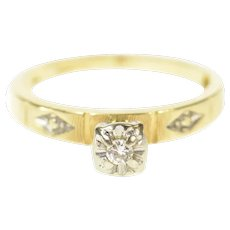 14K Retro Classic Diamond Three Stone Promise Ring Size 4.75 Yellow Gold [CXQC]