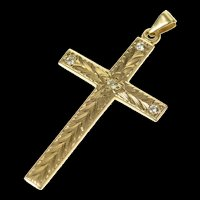 14K 1930's Ornate Etched Diamond Cross Christian Pendant Yellow Gold [CXQC]