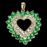10K Classic Syn. Emerald Diamond Accent Heart Pendant Yellow Gold [CQXK]