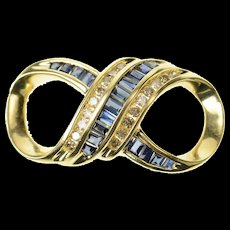 14K Baguette Sapphire Diamond Infinity Loop Slide Pendant Yellow Gold [CXQC]