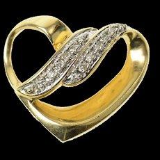 14K Diamond Inset Curvy Heart Love Symbol Slide Pendant Yellow Gold [CXQC]