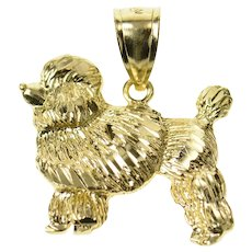10K French Poodle Dog Breed Animal Pet Lover Pendant Yellow Gold [CXQC]