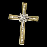 14K Classic Diamond Fancy Cross Christian Faith Pendant Yellow Gold [CXQC]