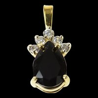 10K Pear Faceted Black Onyx CZ Statement Pendant Yellow Gold [CQXK]