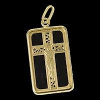 14K Black Onyx Crucifix Cross Overlay Faith Christian Pendant Yellow Gold [CXQC]