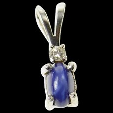 14K Classic Syn. Blue Star Sapphire Diamond Pendant White Gold [CXQC]