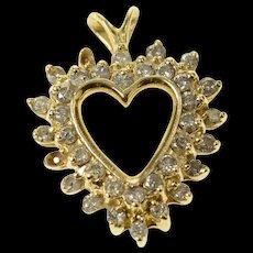 14K Diamond Halo Classic Heart Love Symbol Pendant Yellow Gold [CXQC]