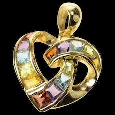 14K Heart Princess Amethyst Topaz Citrine Garnet Pendant Yellow Gold [CXQC]
