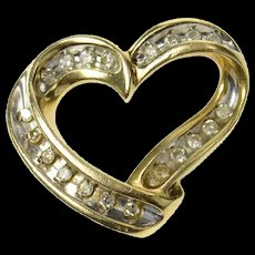 10K Classic Diamond Curvy Channel Heart Love Pendant Yellow Gold [CXQC]