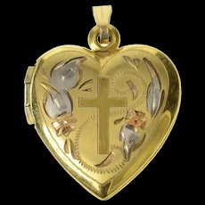 Gold Filled Heart Cross Heart Photo Picture Locket Pendant  [CXQC]