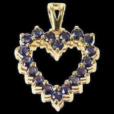 14K Sapphire Ruby Heart Reversible Classic Pendant Yellow Gold [CXQC]