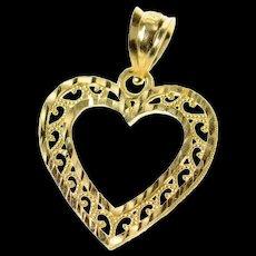14K Scroll Filigree Classic Heart Love Symbol Pendant Yellow Gold [CXQC]