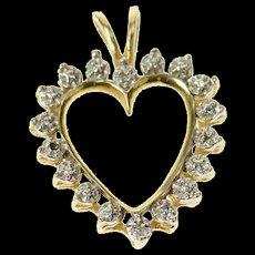 10K Classic Simple Diamond Accent Heart Love Pendant Yellow Gold [CXQC]