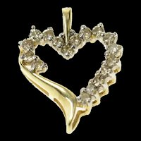 10K Classic Wavy Simple Diamond Heart Love Pendant Yellow Gold [CQXQ]