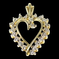 10K Simple Diamond Accent Two Tone Wavy Heart Pendant Yellow Gold [CQXQ]
