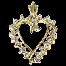 10K Simple Diamond Accent Two Tone Wavy Heart Pendant Yellow Gold [CQXQ]