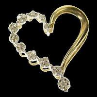 10K Graduated Diamond Cluster Wavy Heart Pendant Yellow Gold [CQXK]