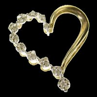 10K Graduated Diamond Cluster Wavy Heart Pendant Yellow Gold [CQXQ]