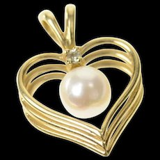 14K Classic Pearl Diamond Accent Retro Heart Pendant Yellow Gold [CQXQ]