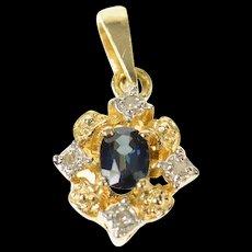 14K Oval Sapphire Diamond Accent Statement Pendant Yellow Gold [CQXQ]