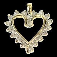 10K Wavy Diamond Classic Heart Love Symbol Pendant Yellow Gold [CQXK]