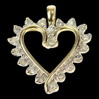 10K Wavy Diamond Classic Heart Love Symbol Pendant Yellow Gold [CQXQ]