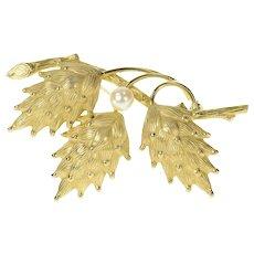 Gold Filled Retro 1960's Stylized Pine Cone Pearl Pendant  [CQXQ]