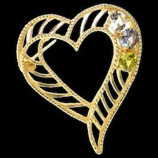 14K 1960's Retro Topaz CZ Peridot Striped Heart Pendant Yellow Gold [CQXQ]
