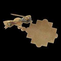 10K Victorian De La Salle College Manila Etched Pin/Brooch Yellow Gold [CQXK]
