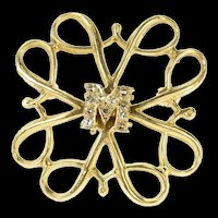10K M Diamond Monogram Swirl Square Statement Pin/Brooch Yellow Gold [CQXK]