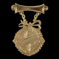 10K Victorian Etched De La Salle 1st Prize Medal Pin/Brooch Yellow Gold [CQXK]